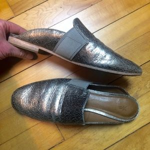 Frye Crackled Silver Leather Terri Mule Flats